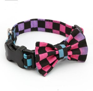 British style polka dot love colorful canvas bow collar buckle pet dog collar bow free shipping