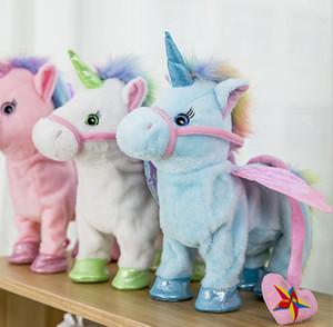Électrique Marcher licorne en peluche peluche Jouet électronique Musique Unicorn jouet pour les enfants de Noël Cadeaux 35cm FFA856-1