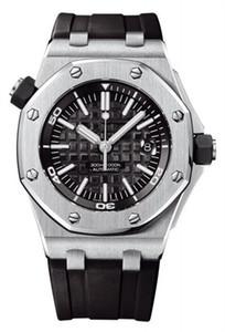 Movimento cinturino in gomma migliore qualità della vigilanza dell'acciaio inossidabile di caso di colore Uomo Automatico Meccanico Mens orologi 15703ST