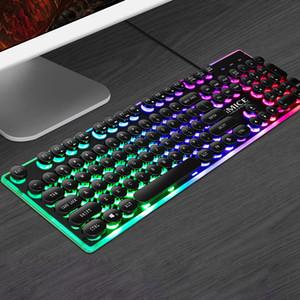 IMICE AK-700 Retro Steampunk clavier de jeu RVB 104 touches rétro-éclairé résistant à Spill Design Anti-ghosting panneau métallique USB filaire Clavier