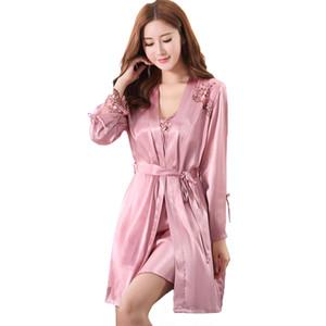Nuevas mujeres ropa de dormir 2 piezas camisa de la correaRobe Summer New camisón elegante flor Sleep Set Noble dama Home Wear Sexy ropa de dormir