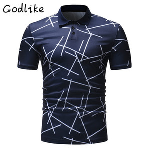GODLIKE 2018 summer new men's casual short-sleeved striped t-shirt Men business fashion personality  shirt
