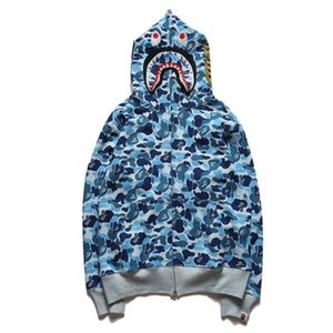 일본 카모 스웨터 핑크 블루 그린 3 색 카모 후드 스웨터 코트 애호가 상어 입 프린트 성격 지퍼 후드