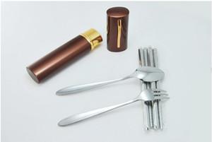 Nueva Mini portátil de acero inoxidable cubiertos de cocina set de vajilla plegable palillos + cuchara + tenedor conjunto de viaje pluma tenedor conjunto vajilla de camping
