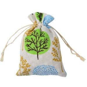 Hediyeler için çantalar Ağaçlar Dize Keten Cotton 10x14cm Hediye Çanta Dize Torbalar Sigara Dokuma Takı Aksesuar, Şeker Hediye Çanta