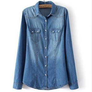 Womens Shirt Top denim chemises et chemisiers à manches longues bouton pression coton dames chemise Camisa Blusa Camisetas Femininas