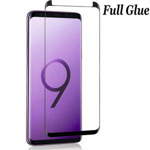 Full cola de vidro temperado para samsung galaxy s9 s9 + nota 9 8 s8 s8 + mais s7 borda s6 borda 3d curvo case friendly protetor de tela caixa de varejo