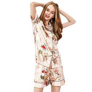 Pajama Sets Womens Sleep 2018 Summer Casual Silk New Short Stampa Turn Down Collar Shorts Suit a due pezzi Tuta Set pigiama