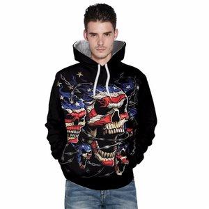 Wholesale free shipping Men Women Hoodies Hip Hop Sweatshirts Flag Skull 3d Digital Printing Tracksuits Tops