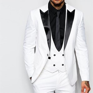 Fashion White 3 Piece Suit Groom Tuxedos Peak Lapel One Button Bridegroom Wedding Suit Men Prom Dinner Blazer(Jacket+Pants+Tie+Vest) 4316