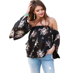 Moda Kadınlar Çiçek Bluz Yaz Uzun Kollu Kapalı Omuz Gömlek Tops Gevşek Casual Bluz Tops Kadın Giyim Annelik Tops