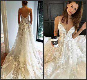 2019 New Pallas Haute Свадебные платья Кружева Аппликация Сексуальная Страна Скромный Спагетти Элегантный пляж Beho Винтажные свадебные платья