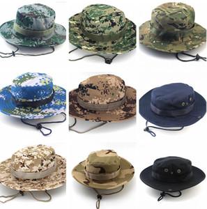 Novos Homens Camuflagem Impressão Balde Chapéu De Aba Larga Chapéus Militares Chin Strap Cap Pesca Caça Camping Caps Proteção Solar 26 cores
