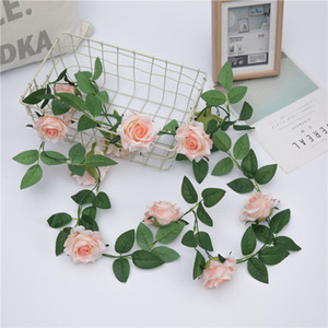 2.3m 1Pcs Artificial Rose Flower Fake Hanging Decorative Roses Vine Plants Leaves Artificials Garland Flowers Wedding Wall Decoration