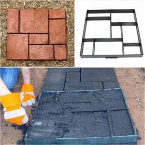 Plástico DIY Path Maker Molde de cemento Moldes de ladrillo Herramientas auxiliares de camino de piedra Manualmente pavimentación para decoración de jardín 51.5x51x4.5cm