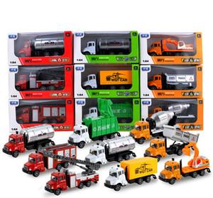 LS Diecast Alloy Engineering Vehicle Model Toy, 1:64 пожарная машина, мусоровоз, фургон доставки, откат, для подарка Рождественского малыша на День рождения мальчика, 2-1