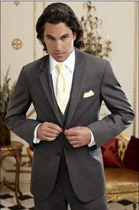 New Arrivals Two Button Dark Grey Groom Tuxedos Groomsmen Notch Lapel Best Man Blazer Mens Wedding Suits (Jacket+Pants+Vest+Tie) H:899