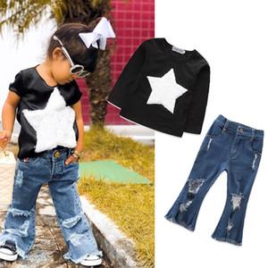 Kinder Mädchen Cowboy Outfits Sterne Top + Denim Flare Hosen 2pcs / Set Frühling Herbst Baby Kleidung Sets C5512