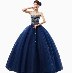 2018 Fashion Crystal Ball Gown Quinceanera Dresses With Beading Sequined Tulle Sweet 16 Dress Plus Size Lace Up Vestido De 15 Anos BQ03