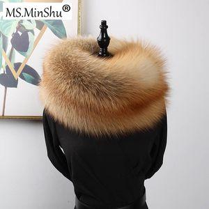 MS.MinShu  Genuine  Fur Scarf Real  Skin Scarf Big Size Natural Fur Shawl Winter Women Stole Drop shipping