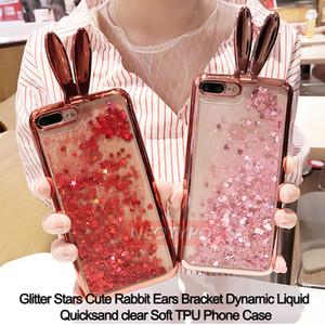 Bling Glitter Cute Rabbit Ears Bracket Dynamic Liquid Quicksand Placca TPU Cassa del telefono per iPhone X 5S SE 6S 8 7 Plus