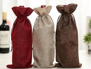 New Wine Bags Champagne Wine Bottle Covers Gift Pouch burlap Packaging bag Wedding Party Decoration Wine Bags Drawstring cover