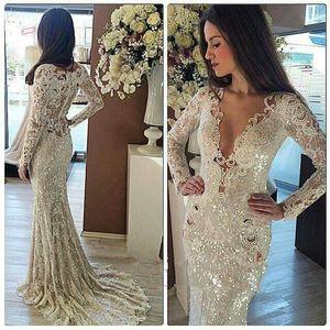 2018 Sparking Long Sleeves Pailletten Meerjungfrau Abendkleider Spitze Applique Sweep Zug formale Party Abend Prom Kleider