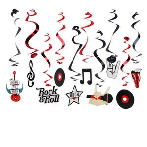 Eco-Friendly (10шт / Уп) Rock Star Металлическая фольга висячие сучки Rock N «Roll Вихри Музыкальные партии украшения Birthday Party