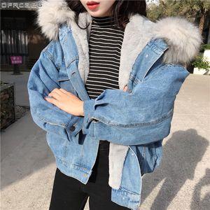Big Faux Pelzkragen Winterjacke Frauen Übergroße Flügelhülse Denimjacken Wolle Liner Jeans Mantel Samt Warme Jaqueta Hoodies S1031