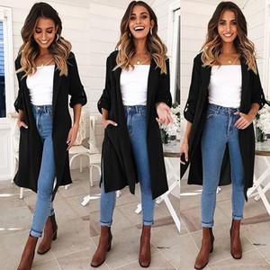 Bordo Siyah 2018 Bahar Kış Kadın Trençkot Yeni Avrupa Amerikan moda Stil kolsuz Yaka Boyun Genç Uzun trençkot FS5891