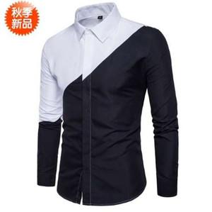 Chemise à manches longues à fente commune noire et blanche