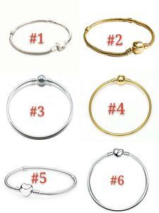17-21cm 5 Arten 925 Silber überzogene Armband-Schlange-Ketten-Armband mit Fass-Haken-passenden europäischen Armband für DIY Schmuck