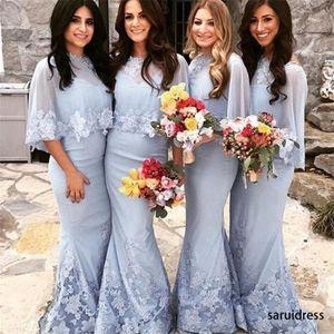 Saudi-Arabien Lace-Applikationen Hochzeits-Party-Kleider Mermaid-Reißverschluss Backless sexy Schatz lange Brautjungfernkleider mit Wrap-Haustern von Ehren