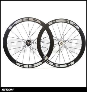 700C 탄소 트랙 자전거 바퀴 세트 50mm HED 그림 Clincher 관형 플립 플롭 고정 기어 단일 속도 자전거 바퀴