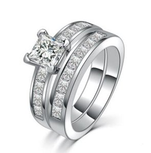 Anillo de cristal cuadrado austriaco Plata de moda con platino plateado Anillos de joyería de plata Anillo cuadrado de cristal Anillos de pareja