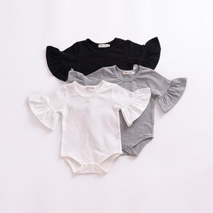 Baby Flare Sleeve Bodysuit White Black Gray Summer Newborn Onesie Baby Clothing