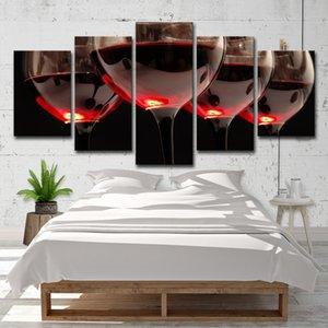 Leinwand Gemälde Für Wohnzimmer Moderne HD Druckt Bilder 5 Stücke Delicate Rotweingläser Poster Küche Wand Kunst Wohnkultur
