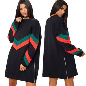 À manches longues À rayures Pull Robe Casual Femme Couture Zipper Automne Tendances De La Mode fitness dames Robe Plus Taille Meilleure Vente En Ligne