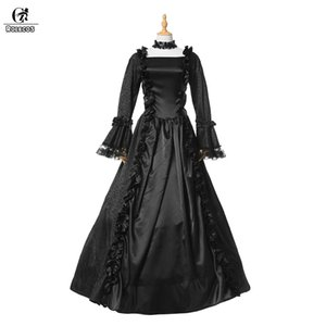 ROLECOS 2017 Vintage Gothic Lolita Dress For Women Party Retro Black Lolita Long Dress With Full Sleeves Victorian Gown