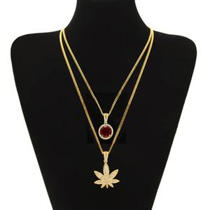 Pendente di cristallo rosso della collana di Set Men Hip hop Colore Oro Bling strass Maple leaf piazza per le donne Monili Roccia