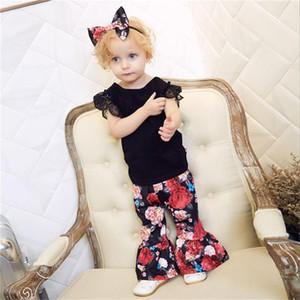 MIikrdoo 3PCS Summer Toddler Baby Girl Clothing outfits Lace Cotton Top Shirt+Ruffle Floral Pants+Headband Casual Clothes Sets
