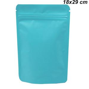 18x29 cm Blu Stand Up risigillabili Pure Borse alluminio Confezione Matte Foil riutilizzabile Mylar Zipper bagagli sacchetto per Frutta fagioli secchi