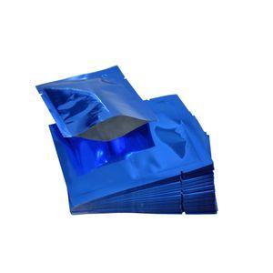 Multi-size 200 шт. / Лот Синий Плоский Тип Майлара Пакеты Мешки Доказательство Воды Вакуумные Мешки Кофе Порошок Термоуплотнения Хранения Мешок С Слезой Паз
