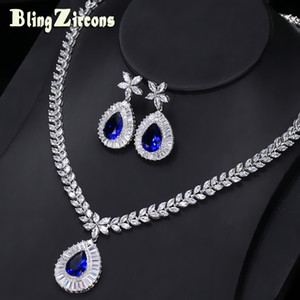 whole saleBlingZircons  New Big Water Drop Royal Blue Zirconia Stone Earrings Necklace Bridal Wedding Jewelry Sets For Women JS032