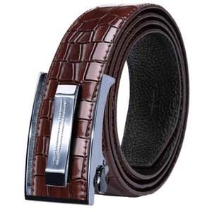 Designer belts Silver automatic buckle strip with brown crocodile belt Luxury novelty Business wedding party Freeing shipping DK-2041-DJ