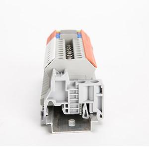 10PCS E-UK Morsetto a morsetto a vite con estremità di guida 35mm Morsetto fisso grigio con morsettiera passante