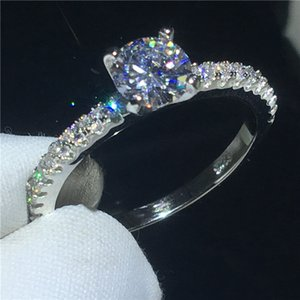 سحر سيدة خاتم 925 الفضة الاسترليني سوليتير 0.5ct الماس تشيكوسلوفاكيا ستون حفل زفاف باند الطوق للمرأة مجوهرات الزفاف الجميلة