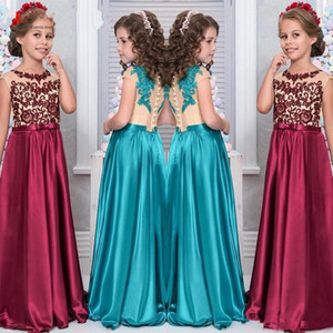 2018 Sheer Cap Sleeves Satin A Line Flower Girl Dress Lace Appliqque Pageant Dresses Bow Sash Back Birthday Party Dresses BA9186