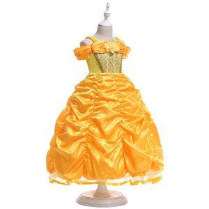 2017 Princesa de la muchacha del vestido de las muchachas del traje de la princesa Dress Condole Belt Peng Peng manga de la fiesta de Navidad de Halloween Cosplay Princesa Dress