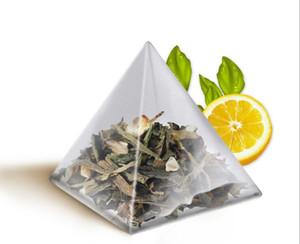 Mode Hot 5,8 * 7 cm Pyramide Teebeutel Filter Nylon TeaBag Einzigen String Mit Label Transparent Leere Teebeutel